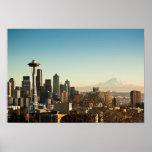 Im Stadtzentrum gelegene Seattle-Skyline und Poster