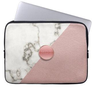 Imitat 3D errötet rosa lederne Marmorlaptop-Hülse Laptop Sleeve