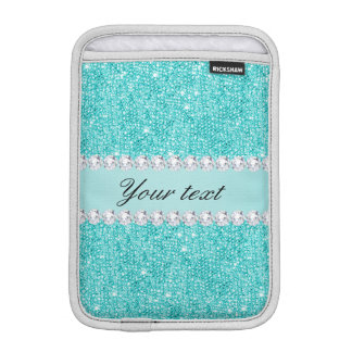 Imitat-aquamarine Sequins und Diamanten iPad Mini Sleeve