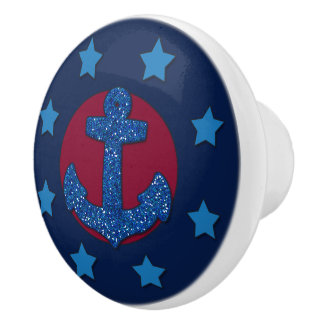 Imitat-blauer Glitter-Anker | nautisch Keramikknauf