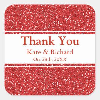 Imitat-danken rote Glitter-Hochzeit Ihnen Quadratischer Aufkleber