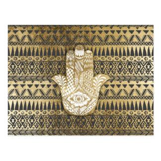Imitat-Druck-GoldHamsa Hand und Stammes- Azteke Postkarte