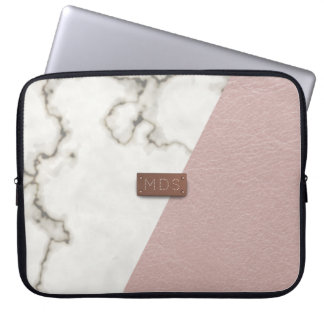 Imitat errötet rosa lederne Marmorlaptop-Hülse Laptopschutzhülle