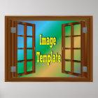 Imitat-Fenster-Kirschrotholz-Foto-Schablone Poster