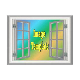 Imitat-Fenster-schaffen weiße Foto-Schablone Ihre Leinwanddruck