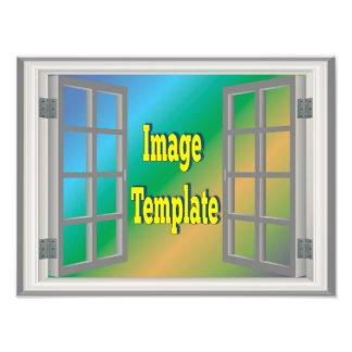 Imitat-Fenster-weißes Grau schaffen Ihre Selbst Fotodruck