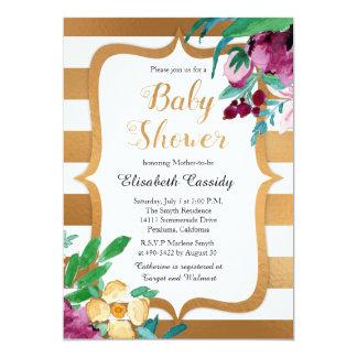 Imitat-Folie und Blumen-Baby-Dusche lädt ein 12,7 X 17,8 Cm Einladungskarte