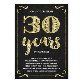 Imitat-Folien-30. Jahrestag der Goldtypographie-| 12,7 X 17,8 Cm Einladungskarte