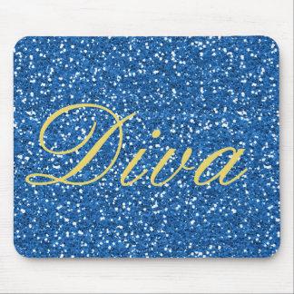 Imitat-Glitter-Diva-Entwurf im Blau Mousepads