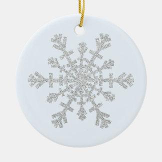 Imitat-Glitter-Silber-Schneeflocke auf Pastellblau Keramik Ornament