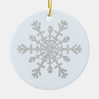 Imitat-Glitter-Silber-Schneeflocke auf Pastellblau Rundes Keramik Ornament