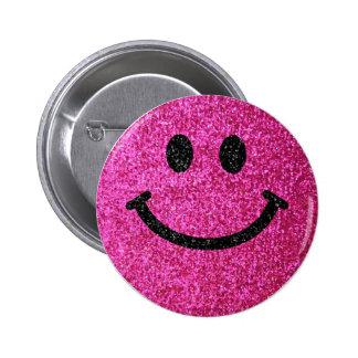 Imitat-Glitter-Smiley des heißen Rosas Runder Button 5,1 Cm