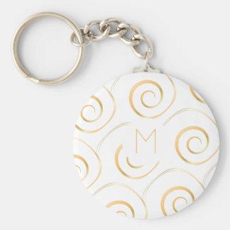 (Imitat-Gold) gewundenes Monogramm | Keychain Schlüsselanhänger