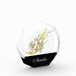 Imitat-GoldBlumen-Schwarz-personalisierter Name Acryl Auszeichnung