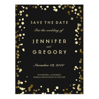 Imitat-Goldconfetti-Schwarz-Save the Date Postkarten