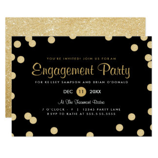 Imitat-Goldconfetti-Verlobungs-Party laden ein Karte