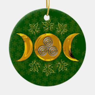 Imitat-Golddreiergruppen-Mond u. silberne Rundes Keramik Ornament