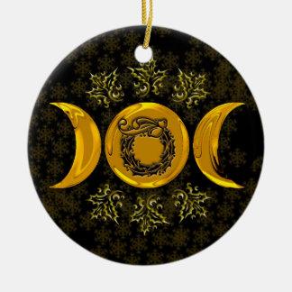 Imitat-Golddreiergruppen-Mond u. StechpalmeWreath Rundes Keramik Ornament