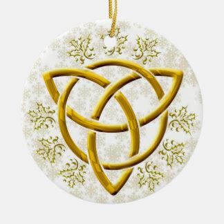 Imitat goldenes Tri-Quatra mit Goldschneeflocken Keramik Ornament