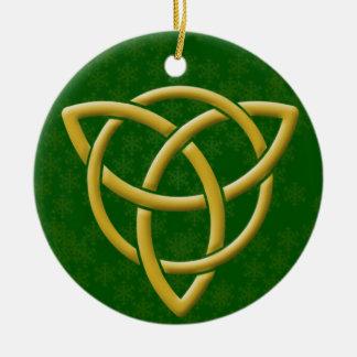 Imitat goldenes Tri-Quatra mit Goldschneeflocken Rundes Keramik Ornament