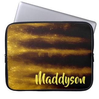 Imitat-Goldfarbe und -Glitzer auf Schwarzem Laptop Sleeve