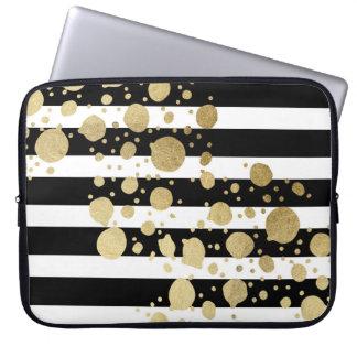 Imitat-Goldfarben-Spritzer auf Schwarzweiss Laptop Sleeve
