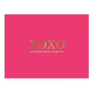 Imitat-Goldfolie auf heißem Rosa XOXO danken Ihnen Postkarte