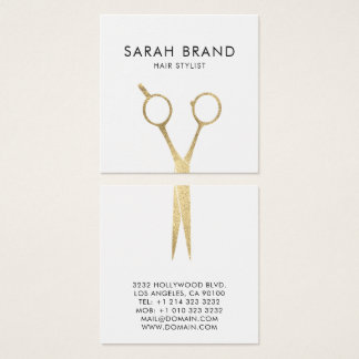 Imitat-Goldfolie Scissors Haar-Stylisten Quadratische Visitenkarte