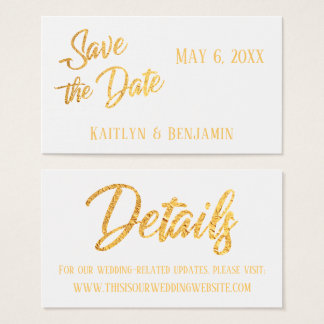 Imitat-Goldfolie, Wedding Detail-Save the Date Visitenkarte