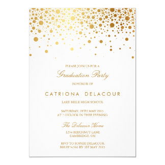 Imitat-Goldfolieconfetti-Abschluss-Einladung 12,7 X 17,8 Cm Einladungskarte