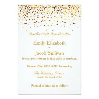 Imitat-Goldfolieconfetti-elegante Hochzeit 8,9 X 12,7 Cm Einladungskarte