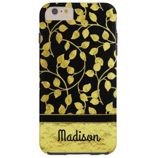 Imitat-Goldfolien-botanisches Blätter, Reben, auf Tough iPhone 6 Plus Hülle