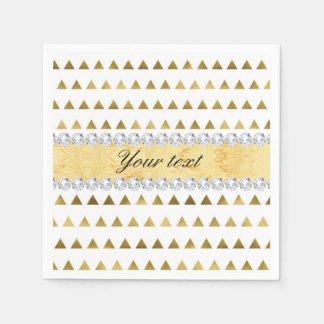 Imitat-Goldfolien-Dreieck-Muster und Diamanten Papierservietten