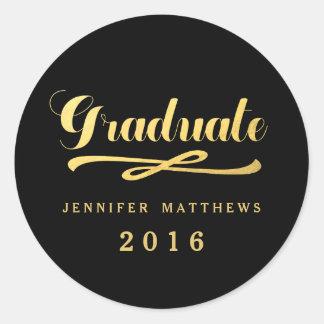 Imitat-Goldfolien-Glamour-Abschluss-Aufkleber 2016 Runder Aufkleber