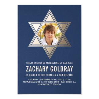 Imitat-Goldfolien-Stern Bar Mitzvah Einladungs-| 12,7 X 17,8 Cm Einladungskarte