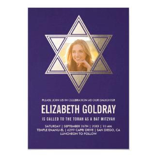 Imitat-Goldfolien-Stern Schläger Mitzvah Karte