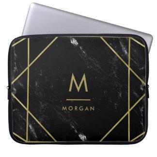 Imitat-Goldgeometrischer Entwurf auf schwarzem Laptop Sleeve