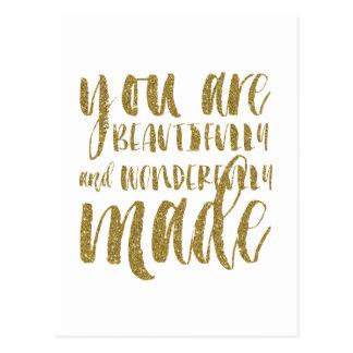 Imitat-GoldGlitter-Inspirational flache Postkarte