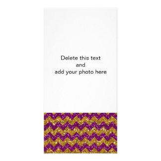 Imitat-GoldGlitter-Zickzack Muster-lila Glitter Bilderkarten