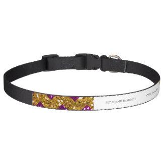 Imitat-GoldGlitter-Zickzack Muster-lila Glitter Haustierhalsband