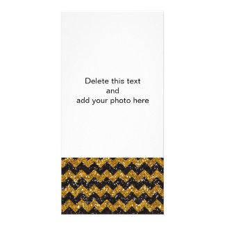 Imitat-GoldGlitter-Zickzack Muster-Schwarz-Glitter Foto Grußkarte