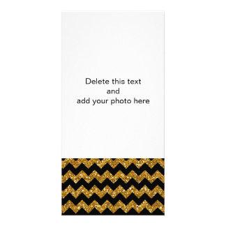 Imitat-GoldGlitter-Zickzack Muster-Schwarz-Körper Photokartenvorlagen