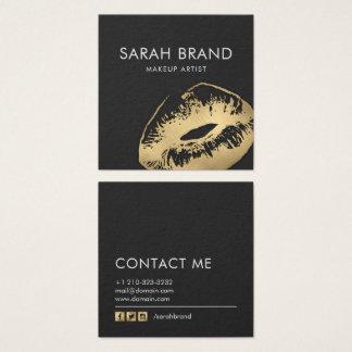 Imitat-Goldlippenmake-upkünstler-Schönheits-Salon Quadratische Visitenkarte