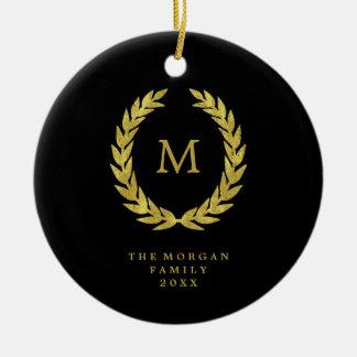 Imitat-GoldlorbeerWreath auf Schwarzem Rundes Keramik Ornament