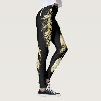 *~* Imitat-GoldLuxe Federnu. -kristalleChic Trendy Leggings