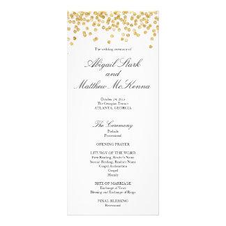 Imitat-Goldscheinconfetti-Hochzeits-Programm Werbekarte