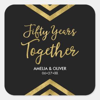 Imitat-GoldZickzack 50. Hochzeits-Jahrestags-Party Quadratischer Aufkleber