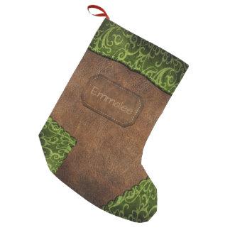 Imitat-grünes Brown-Monogramm-Leder Kleiner Weihnachtsstrumpf