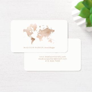 Imitat-helle Goldweltkarte auf Weiß Visitenkarte