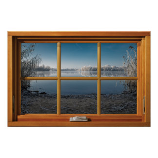 Imitat-hölzerne Fenster-Illusion - eisige Poster